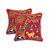 Classic Set Of 2 Cushion Cover Forest Maroon 16 X 16 Cotton Pillow Cases