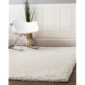 Super Area Rugs SHAG-01 Cozy Living Room Shag Rug, 5 x 8, White