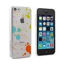 """Coque rigide pour iPhone 5C """"Splatter"""" - Transparente avec des éclaboussures de peinture"""