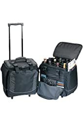 Travelwell Polyester Bottle Limo 12 Bottle Wine Case with Wheel and Organizer- Black