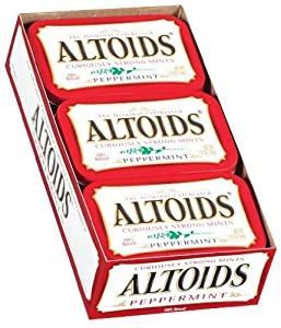 Office Snax Altoids Peppermint Candy, 6 Pack, 1.76oz Tin Con