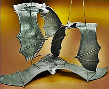6 Rubber Hanging Bats on Strings - 13 Inch