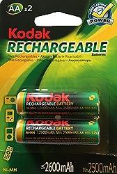 Kodak Rechargeable 2600 mah Ni-mh Batteries 2Pcs in a Pack minimum 2500 mah