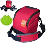 First2savvv high quality anti-shock red Nylon camcorder case bag for SONY HDR-PJ810E with LENS Cleaning Cloth