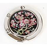 Handbag hanger, purse hook, handmade mother of pearl gift, magnetic swirl type. Cherry blossom.