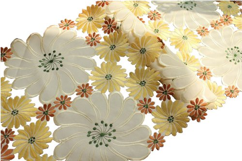 """15""""By39""""Yellow Rural Haik Embroidered Cutwork Table Runner Bountiful Table Cloth"""
