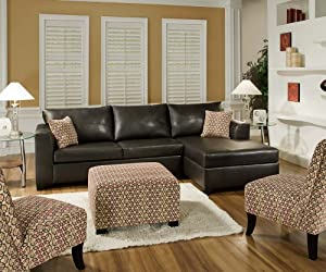 Amazoncom SIMMONS 6275 URBAN BROWN LEATHER SECTIONAL