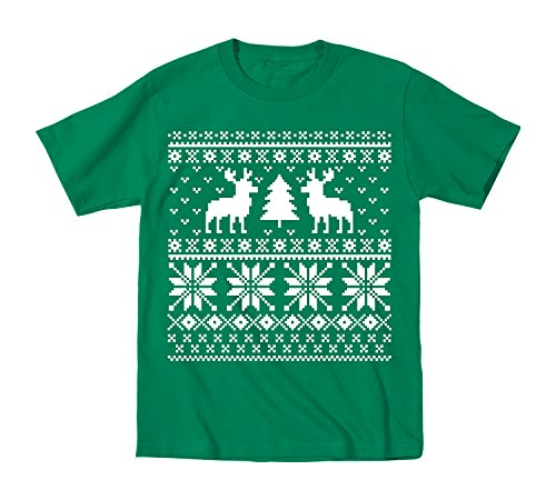 Ugly Sweater Parties Deer Trees Christmas - Youth T-Shirt - Kelly Green - X-Large