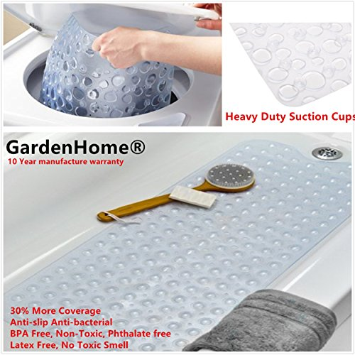 "GardenHome® Powerful Anti-Bacterial Slip-Resistant Bathtub Mat BPA Free, Non-Toxic, Phthalate free, Latex Free, No Toxic Smell 10 Year Manufacture Warranty (16""W x 39""L, Clear)"