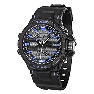 TIME100 Multifunction LCD Dual-time Display Silicone Strap Blue Outdoor Sports Digital Watch #W40110G.03A