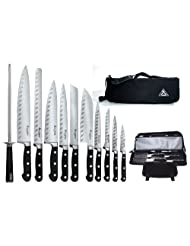 Saber F-12 Full Tang German Steel Working Chef Knives with Chef's Knife Bag by Saber Knives