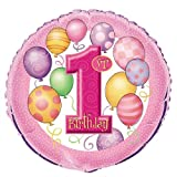 1st Birthday Pink 18 Foil Balloon Infant