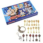 BeOne Cosplay Anime Fairy Tail Blade Lucy Natsu Heart Keychain Necklace Pendant Set 18pcs