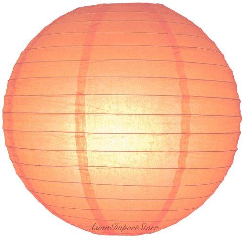"Quasimoon 24"" Peach Even Ribbing Round Paper Lantern (10 PACK) by PaperLanternStore"