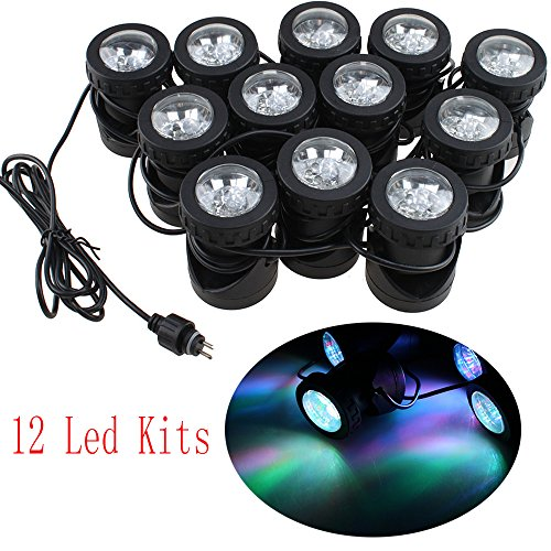 AGPtek® 25W 1100Mah Underwater Fountain/ Fish Pond/ Swimming Pool/Water Garden Pond Lights Great for Christmas, Party, Celebration Occasions (12 LED Kits)