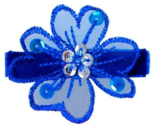 Bow Allure Lulu No Slip Flower Hair Clip For Toddlers And Girls, Organza, Blue
