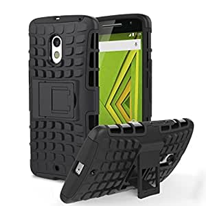 Chevron Tough Rugged Dual Layer Protective Case with Kickstand for Motorola Moto X Play (Black)