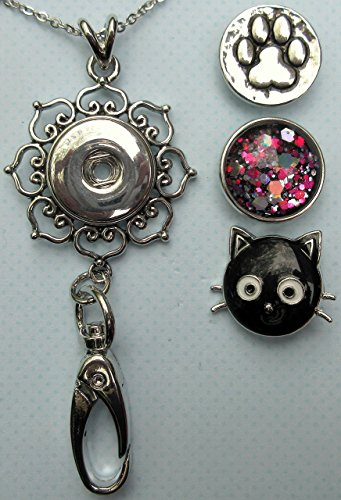 cat-lover-womens-lanyard-hearts-pendant-w-clip-for-ids-badges-keys-comes-w-3-snap-charms