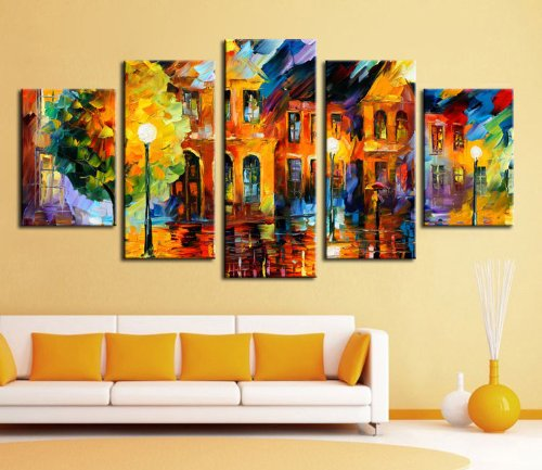 100% Hand-Painted Best-Selling Quality Goods Free Shipping Wood Framed On The Back Five Knife Painting Landscape High Q. Wall Decor Landscape Oil Painting On Canvas 4Pcs/Set Mixorde
