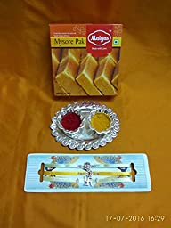 Rakhi Ganesh ,Swastik hand crafted ,Satin strings, Indian sweets gift pack,rakhi for brother