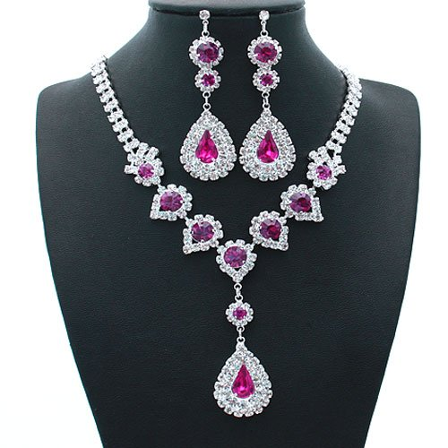 Silver and Fuchsia Crystal Rhinestone 18 Inch Necklace Set