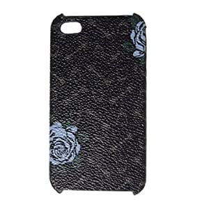 Blue Flower Print Plastic Cover Case for iPhone 4 4G Oxiic