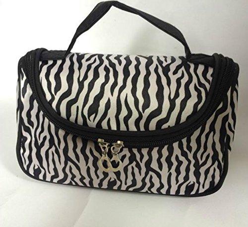 Fashion Zebra Pattern Lady Makeup Bag Women Portable Cosmetic Toiletry Bags Travel Storage Organizer