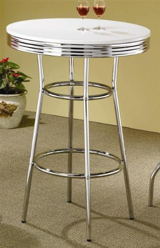 Soda Fountain White Bar Table in Retro Chrome
