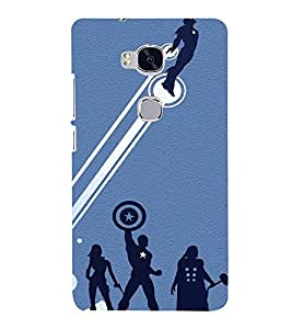 printtech Heroes League Hammer Shield Back Case Cover for Honor 5X