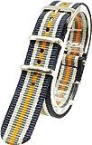 [2PiS] ( ダブルグレーネイビー・ベージュ・グレー・センターオレンジ : 18mm ) NATO 腕時計ベルト ナイロン 替えバンド ストラップ 交換マニュアル付 50-1-18
