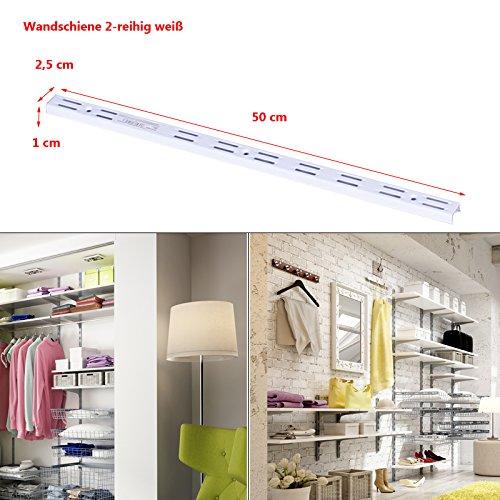 Regalsystem Wandschiene Wandleiste 1 und 2-reihig Stahl Haushaltsregal Metallregal Schraubregal weiß 2-reihig-50cm