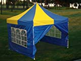10×10 Pop up Canopy Party Tent Gazebo Ez Yellow-Blue – F Model – 2013 Upgraded New Model, Outdoor Stuffs