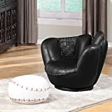 1PerfectChoice Youth All Star Sport Black Baseball Glove Swivel Chair w/ Ottoman Stool White