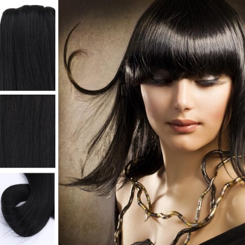Yazilind Clip in Straight Remy Real Human Hair Extensions 20″ 100g 8pcs 1B# Off Black Full Head Set