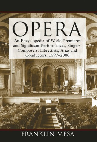 Opera: An Encyclopedia Of World Premieres And Significant Performances, Singers, Composers, Librettists, Arias And Conductors, 1597-2000 front-567316