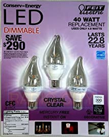 Feit 4.8 Watt LED Candelabra Light Bulbs 3-Pack (equiv to 40 watts)