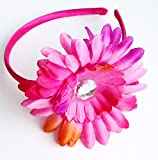 Daisy Flower Tie Dye Style Fashion Headband Hair Accessory for Girls - Fucshia Pink