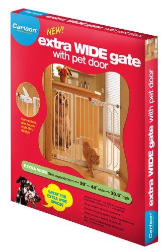 Carlson 0930PW Extra-Wide Walk-Thru Gate with Pet Door, White