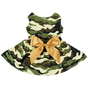 FurBaby Fashion Army Green Camouflage Pet Dog Dress Clothes Camo Shirts Vest Comfy Apparel, Small