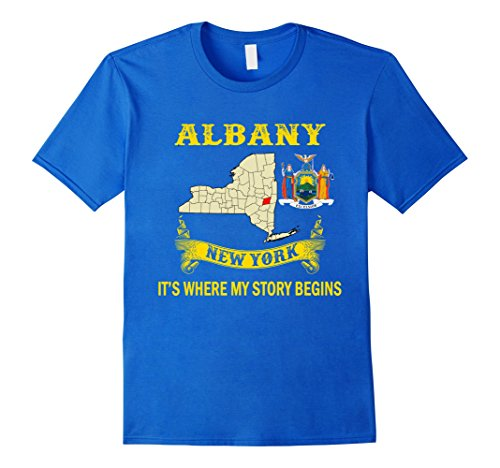 Men's Albany NY T-Shirts Medium Royal Blue (Bronx Plaza)