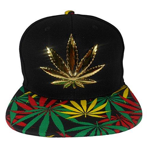 Cap2Shoes-Mens-Marijuana-Metal-Weed-Leaf-Snapback-One-Size-Rasts