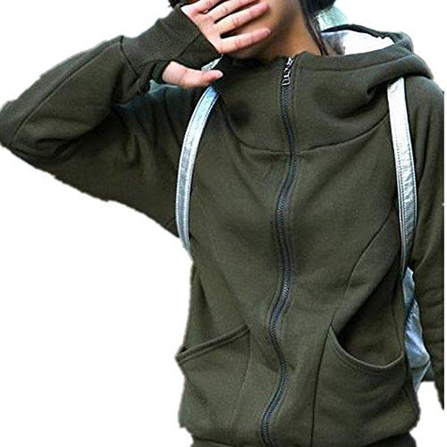 Culater® Lady cappotto incappucciato Felpa Giacca Maglia Encase Finger Tops (Army Green)