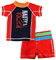 Nautica Baby Boys Rash Guard Swim Top with Shorts 2Pc Set 12MRed