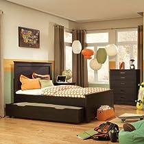 Hot Sale Standard Furniture Hideout 3 Piece Panel Bedroom Set W/ Trundle In Warm Dark
