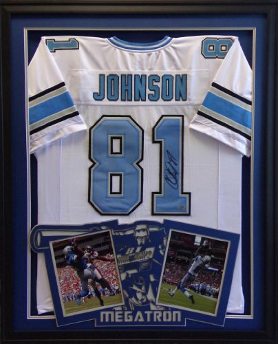 Calvin Johnson Framed Jersey Signed Aaa Coa Autographed Detroit Lions Megatron front-669230