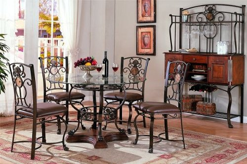 Cheap 5pc Traditional Round Glass Top Dining Table & Chair Set (VF_Dinset-F2147-F1233)