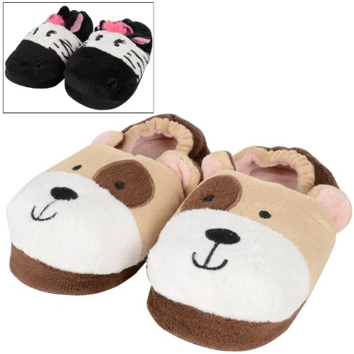 Childrens Cosy Plush Padded Fun Animal Novelty Slippers Puppy Zebra Kids UK 9-3