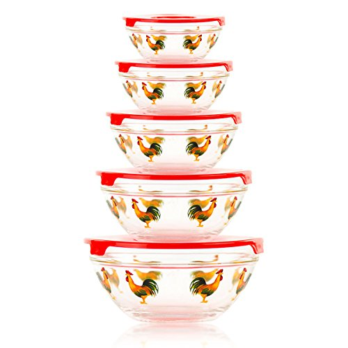 5-Piece Stackable Rooster Design Glass Storage Bowl Set With Snap Tight Lid, BPA Free and Dishwasher Safe (5 Piece Glass Bowl Set Rooster compare prices)