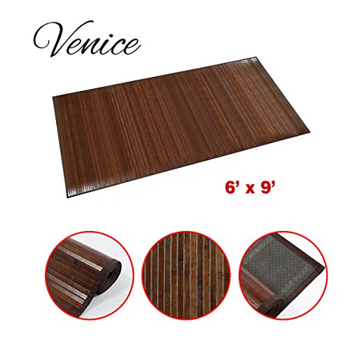 "Venice Natural Bamboo 6 X 9 (72""x108"") Floor Mat, Bamboo Area Rug Indoor Carpet, Elegant Walnut Dark Brown Color Finish, Non Skid Backing, Floor Runner Mat for Living room, Hallway, Kitchen, Office"