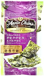 Annie Chun's Seaweed Snacks, Cracked Pepper and Herbs, 0.35 Ounce (Pack of 12)